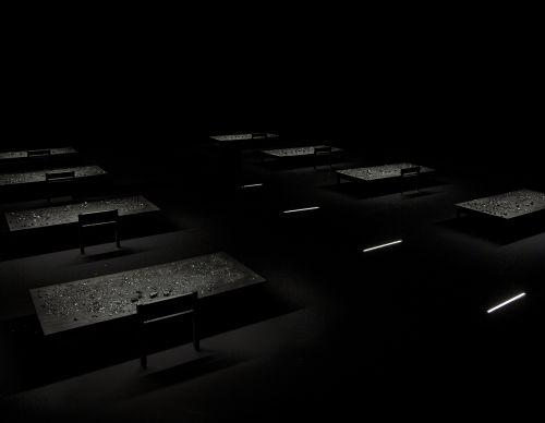 Installation, 11m x 10m, 8 desks, pigmented water, coal, 2016