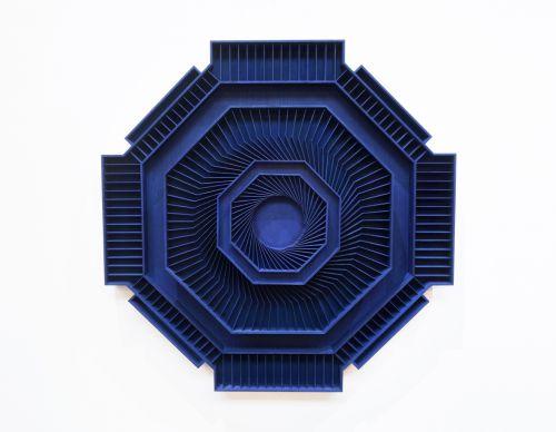 85 x 85cm, wood, cobalt ink, 2017
